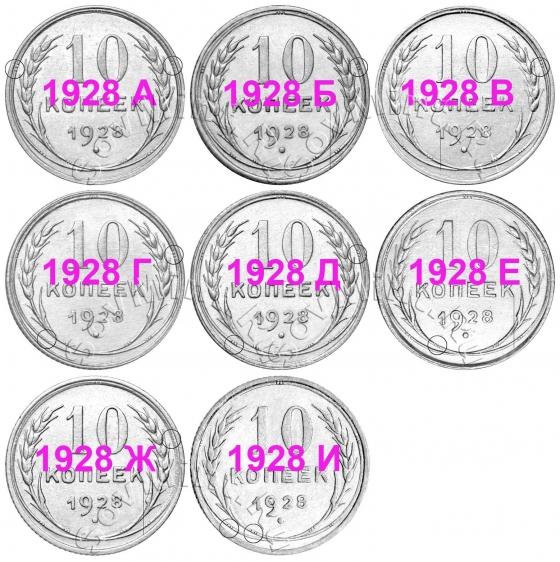 10 копеек 1928, группа I (шт.А-И)