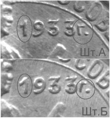 10 копеек 1933, разновидности штемпелей реверса