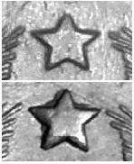 10 копеек 1944, варианты по реьефности звезды