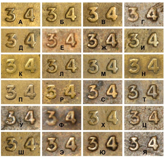 2 копейки 1934, варианты гравировок цифр даты