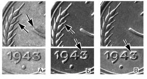 3 копейки 1943, вариаты гравировок реверса по Я.Адрианову (а-в)