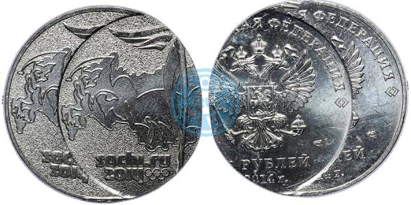 25 рублей 2014 СПМД Олимпиада в Сочи (Факел), двойной удар (фото: аукцион coins.ee)