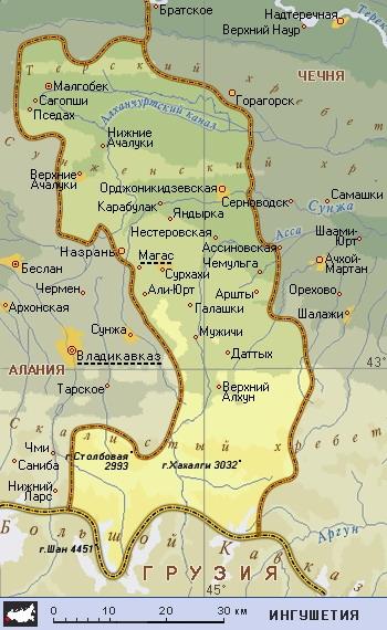 Республика Ингушетия, карта