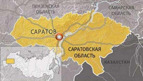 Саратовская область, карта