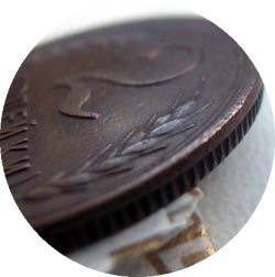 Монетный брак: «Грибок» (частичный чекан вне кольца)