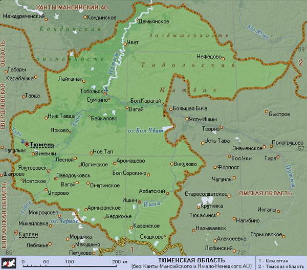 Тюменская область. Карта.