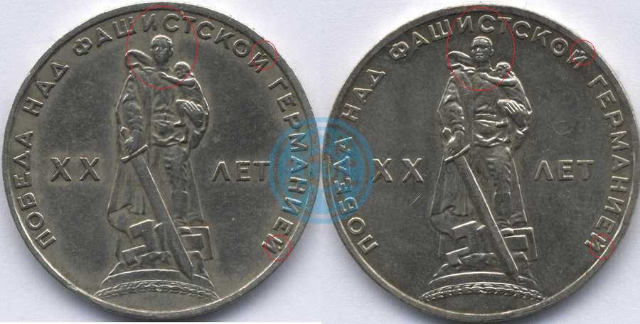 Аверс 1 рубль 1965 20 лет победы над фашистской Германией (с обозначениями)